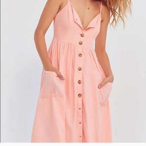 UO cooperative emilia peach linen dress